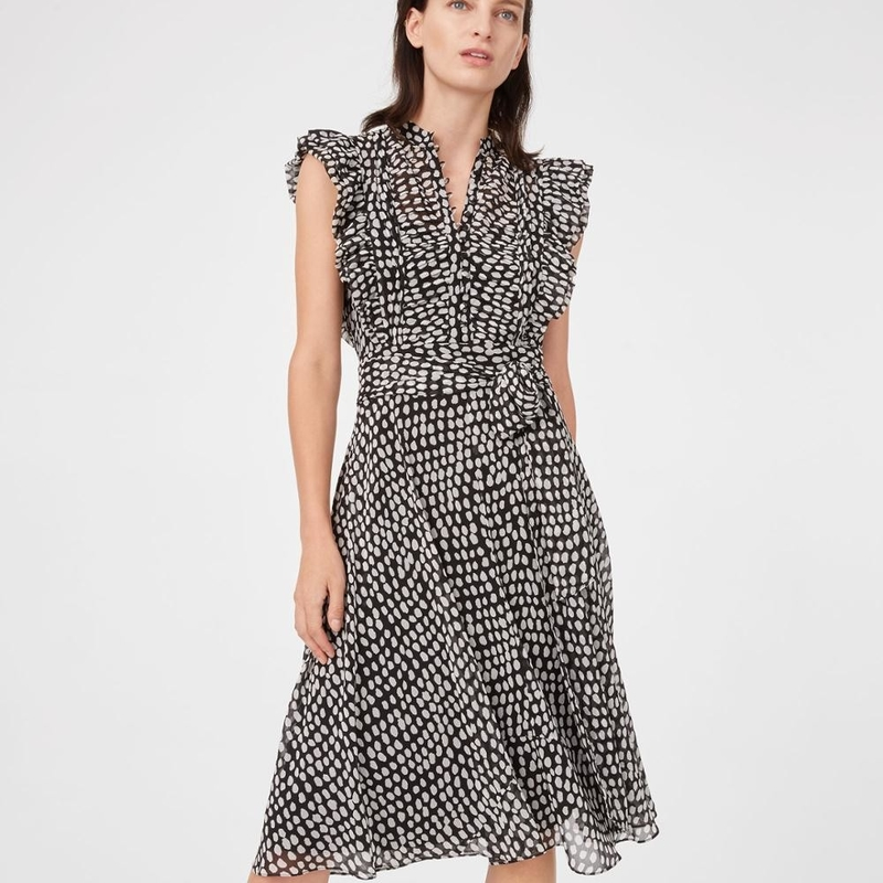 Summer Ruffle Polka Dot Midi Dress Women Casual Dresses Ladies
